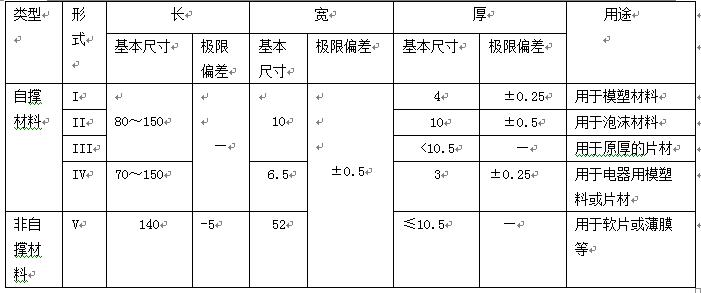 氧指数的试样类型